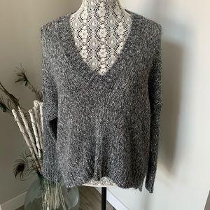 ZARA Knit Sweater Grey with Sparkle V Neck Size M